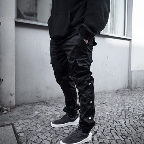 Fashion Spring And Autumn New Men's Casual Pants Trendy Brand Multi-Pocket Trousers Solid Color Loose Straight Leg Cargo Pants