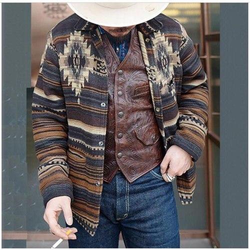 Autumn 2021 Men Lapel Personality Printing Dark Buckle Long Sleeve Jacket Streetwear Vintage Casual Loose Outerwear