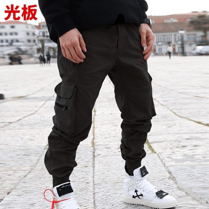2021 Cargo Pants Korean Edition Solid Color Large Size Multi-pocket Light Plate High Street Casual Pants Men's Tracksuit Pants