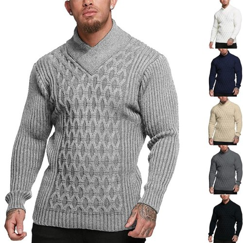 Men's Solid Color Long-sleeved Sweater Vintage Knitted Autumn Winter Daily All-match Pullovers Male  Sports Business Warm Tops