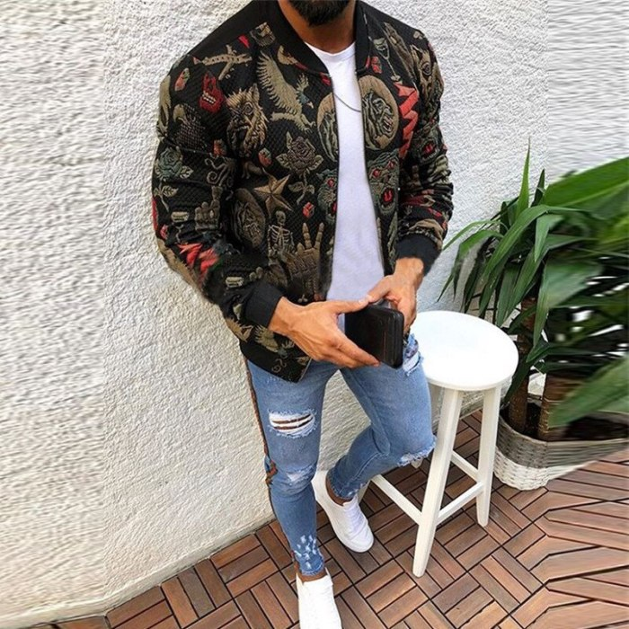 Men Jacket New Fashion Slim Printed Jacket Men's Spring and Autumn Trend Long Sleeve Zipper Casual Jacket Mens Clothing
