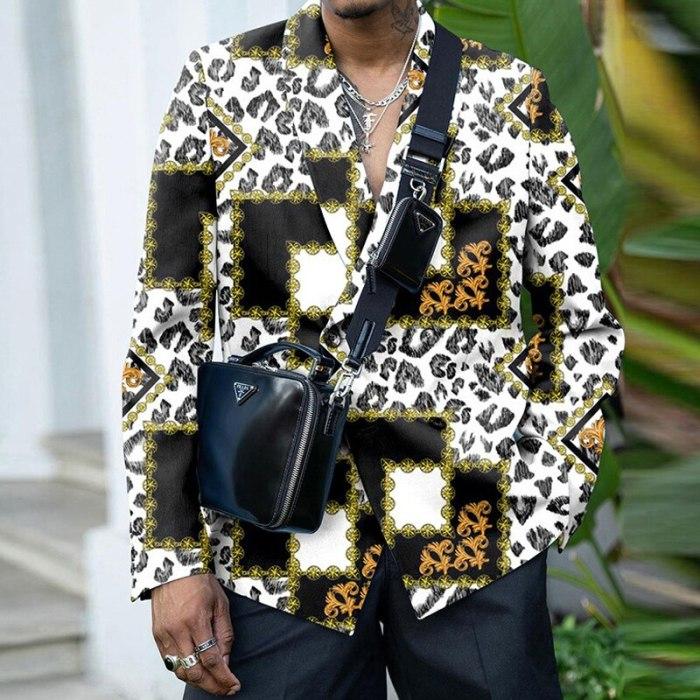 Vintage Turn-Down Button Coat Tops Winter Casual Long Sleeve Printed Loose Suit Fashion 2021 Autumn Men Blazer Jacket Streetwear