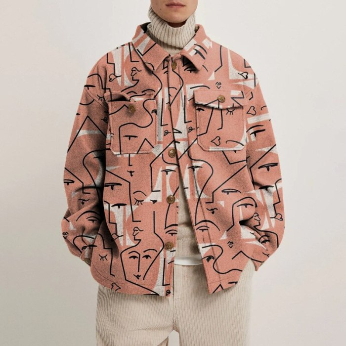 Men Fashion Jacket 2021 Spring/Autumn Print Turn-down Collar Youth Jacket Long Sleeve Loose Single Breasted Casual  Donsignet