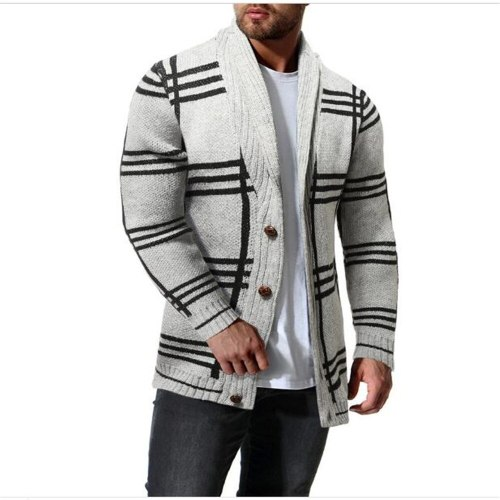 2021 Autumn Winter Fashion Men Cotton Single Breasted Striped Long Sleeve Sweater Vintage Casual Thick Warm Kniting Outerwear