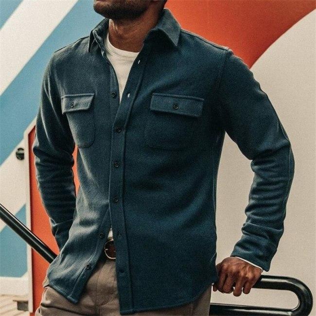 Men Clothing 2021 European American Hot Style Men's Clothing New Solid Color Lapel Slim Jacket Jacket Men