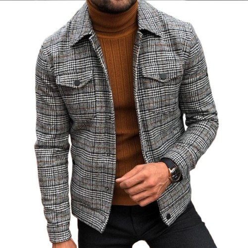 Fashion Jacket Men Spring Autumn Men's Slim Plaid Coat Men Clothing Turn-down Collar Single Breasted Casual Outerwear & Coats