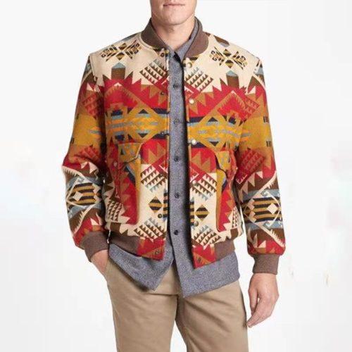 Men Jackets 2021 Autumn Men's Loose Round Neck Printed Youth Jacket Casual Plus Size Fashion Jacket Men Outerwear & Coats