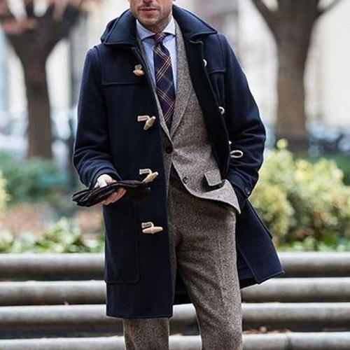 Jacket Coats Men British Gentlemen Long Trench Coat Casual Slim Fit Mens Warm Overcoat