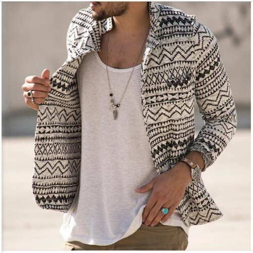 Autumn 2021 Men Lapel Printing Single-Breasted Pocket Long Sleeve Kniting Cardigan Streetwear Vintage Casual Slim Sweater S-3XL