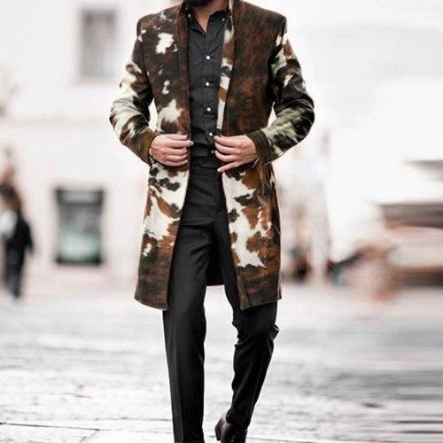 Woolen Coat Camouflage Loose Windbreaker 2021 Mens Jacket Men's Slim Fit Mid-Long Casual Windbreak Long Men Coat Homme Plus Size