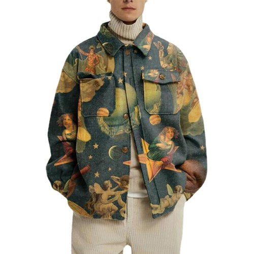 2021 New Fashion Loose European American Style Printing Lapel pockets single breasted Casual Jacket Autumn Winter