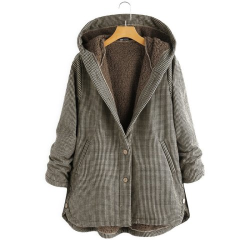 Coat Autumn And Winter New Women's Plaid Loose Plus Velvet Buttons High Street Hooded Jacket  Manteau Femme  En*