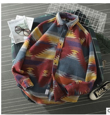 Autumn Woolen Jacket Men Fashion Retro Printing Casual Woolen Coat Men Streetwear Loose Overcoat Male Clothes Large Size M-5XL