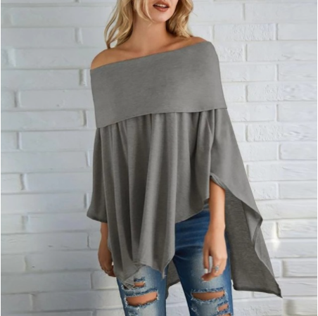 Sweater Women Poncho Pullover Sweater Overlay Solid Tops Off Shoulder Knitted Cloak Irregular Polyester Slash Neck