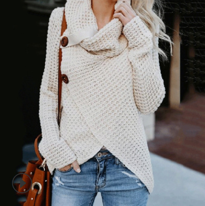 Women Autumn Winter Turtleneck Knitted Sweater Casual Long Sleeve Pullover Vintage Button Jumper Tops Oversized