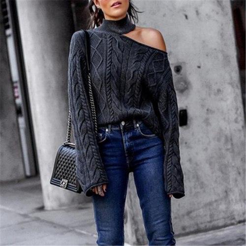 Women Knit Sweater Tops Dark Grey Long Sleeve Strapless Sweater Oversize Knitwear Solid Pullover Female Sweater