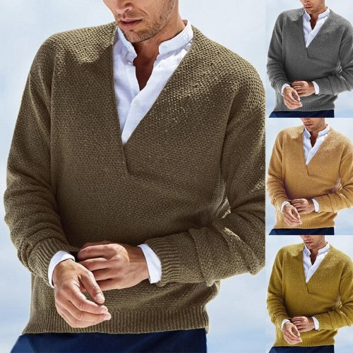 Men's Stylish Vintage Style Basic Knitted Solid Color Pullover Sweater Long Sleeve Sweater Winter Cardigans Shirt Collar
