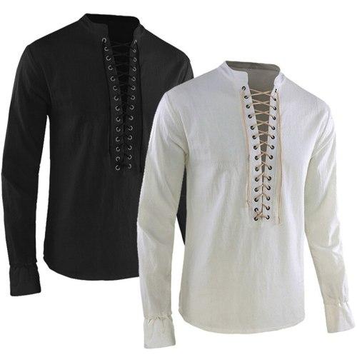 Man Retro Medieval Shirt Pirate Viking Cosplay Costume Vintage Casual Lace Up Knight Renaissance Nordic Tunic Bandage T-shirt