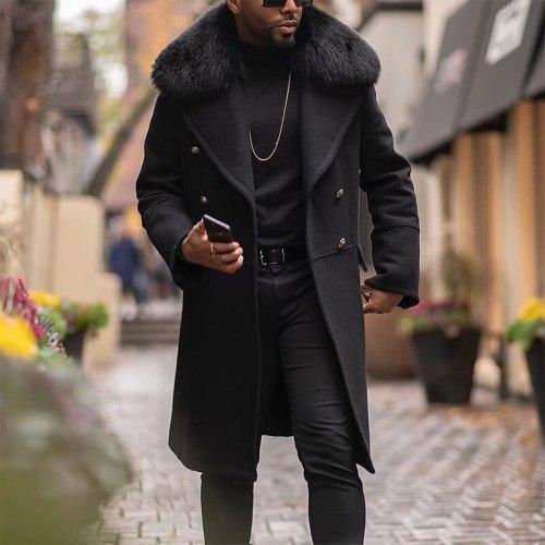 Men's Coat Autumn And Winter New European And American Leisure Solid Color Wool Collar Coat Double Row Button Woolen Coat Men