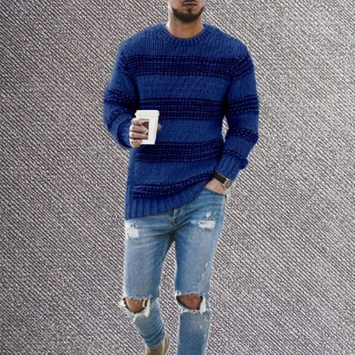 sweaters for men Vintage Pullover Pattern Knittwear O-neck Sweater Mens Streetwear Sweater Hip Hop Oversize Casual Retro Sweater