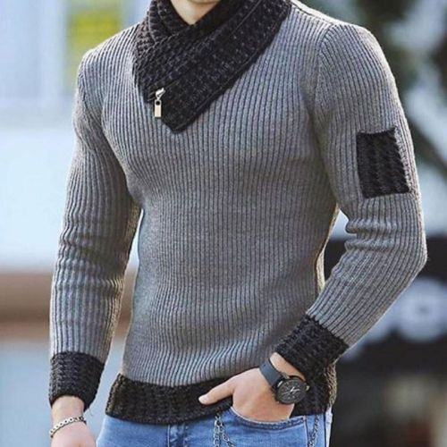 2021 new European and American men's casual slim fit knitted pullover long sleeve scarf collar sweater men's wear