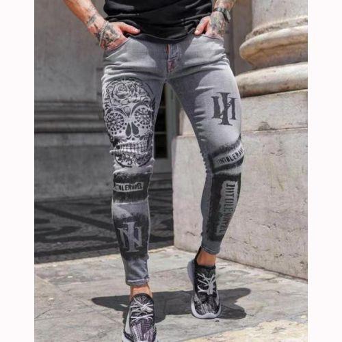 Trendy Men's Stretch Denim Pants Slim Slimming Printed Gray Jeans For Men