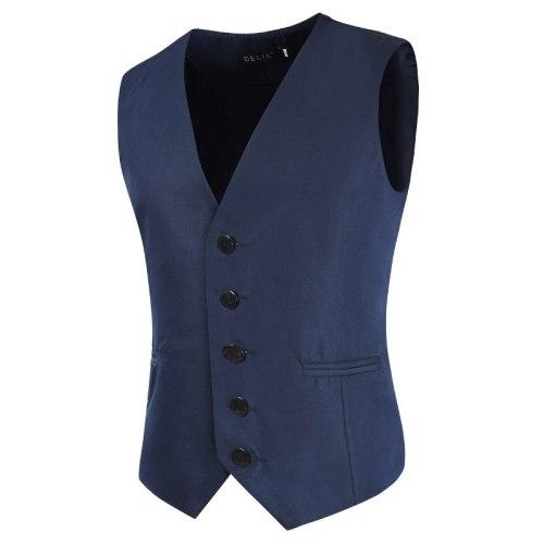 Solid Men Suit Vests Slim Casual Business Mens Waistcoat Gentlemen Groomman Wedding Mens Gilet Oversized Single Breasted Vest