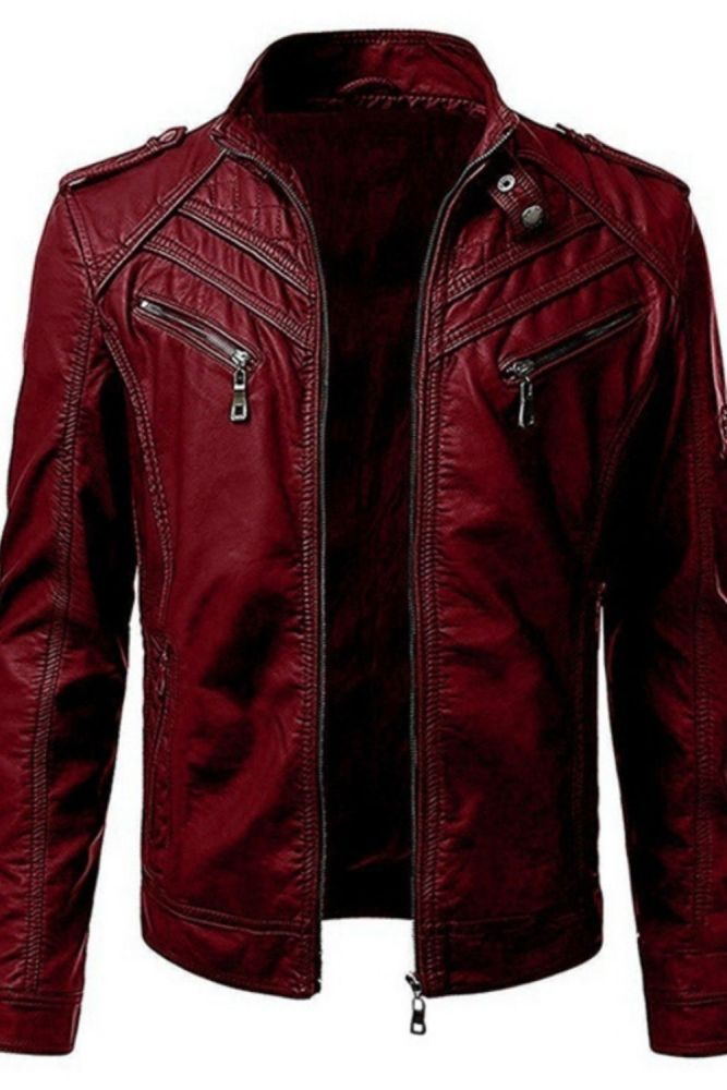 2021 autumn and winter men's jacket foreign trade hot selling leather coat European and American color splicing collar coat