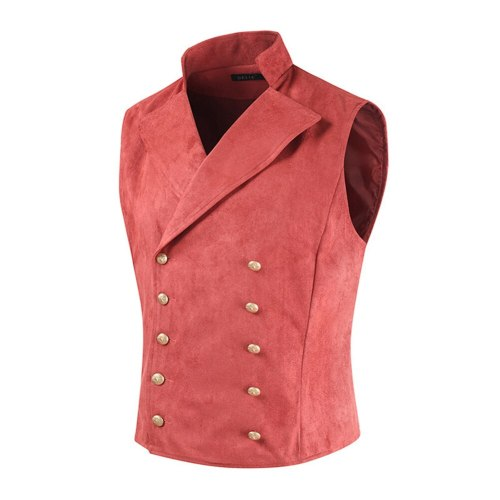 Men's Suit Vest British Style WaistcoatParty Wedding Casual Male Waistcoat Homme Solid Color Two-Breasted Vest Brand New