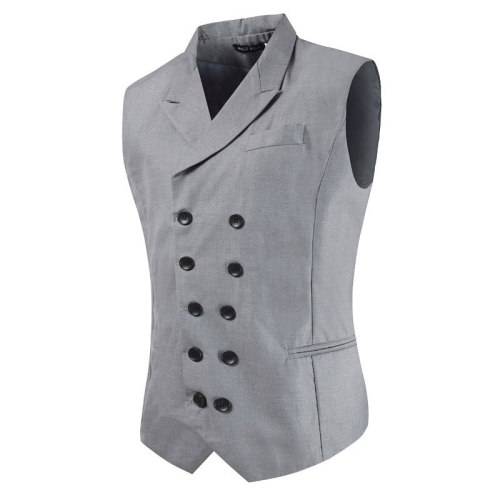 Casual Business Men Suit Vests Double Breasted Turn Down Collar Slim Fit Vest for Men Wedding Party Mens Gilet Waistcoat Hombre