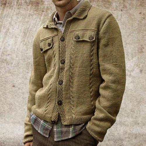 Autumn And Winter Men's Coat Long Sleeve Lapel Single Breasted Sweater Slim Cardigan Sweater Coat 2021