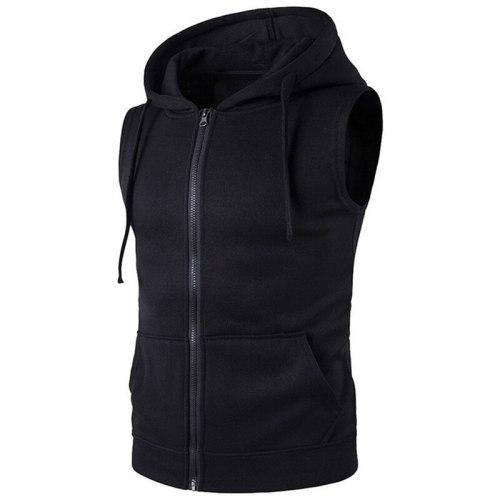 Brand New Solid Vest Men Fashion Sleeveless Hoodies Cardigans Jacket Autumn Causal Zipper Pockets Vest Waistcoat Clothes