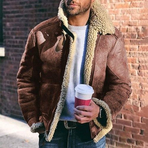 Men's Imitation Fur One-Piece Leather Belt Lapel Men's Coat, Winter Warm Jacket, European And American Leisure Men's Coat
