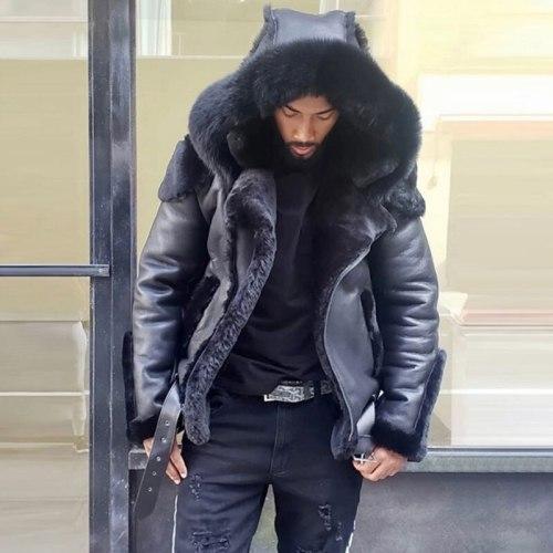 Men's Jacket Coat 2021 Winter Fur Jacket Punk Style Coat Thickened Men's PU Fur Integrated Coat Hooded Coat