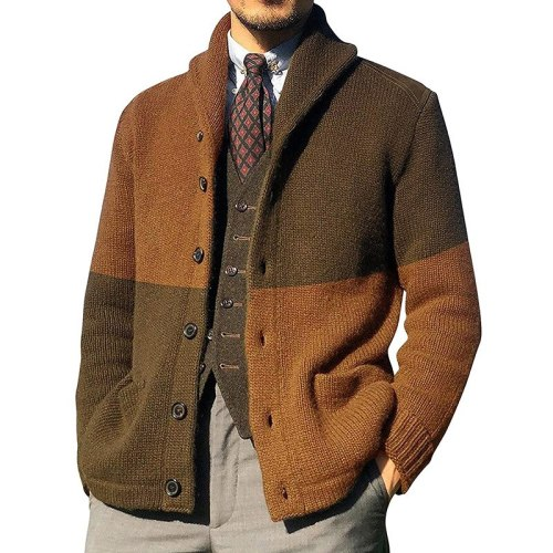 Men's Sweater Cardigan Color Matching Button Long Sleeve Knitted Coat European And American Autumn And Winter New Large Sweater