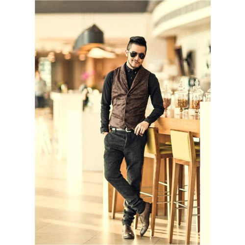 Suede Slim Fit Single Breasted Vest Mens 2021 Brand New Fashion Gothic Steampunk Victorian Style Waistcoat Men Casual Vest