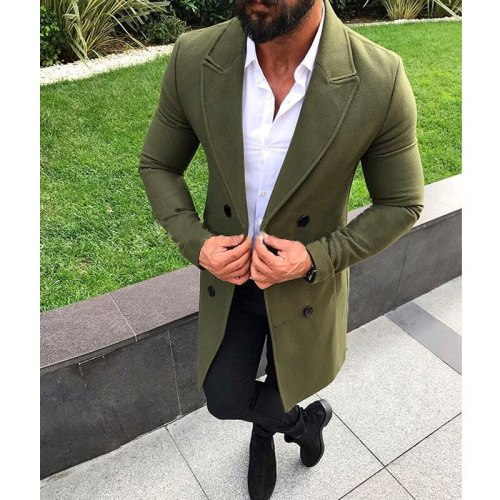 Men's Suit Collar Double Button Woolen Coat Fashion Casual Youth Warm High Quality Loose Solid Color Woolen Coat Winter 2021