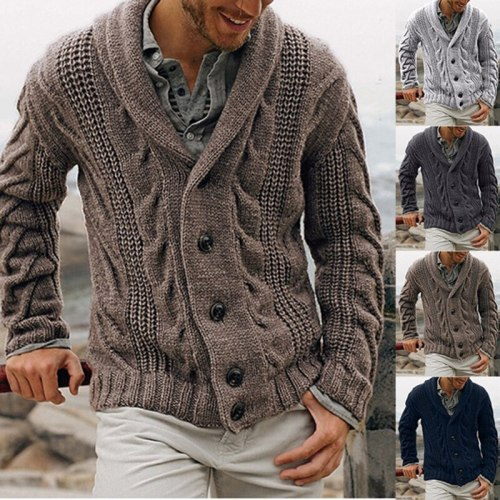Men's Suit Collar Button Cardigan Long Sleeve Sweater Fall Fashion Loose Daily Solid Color Warm Sweater Men's Sweater