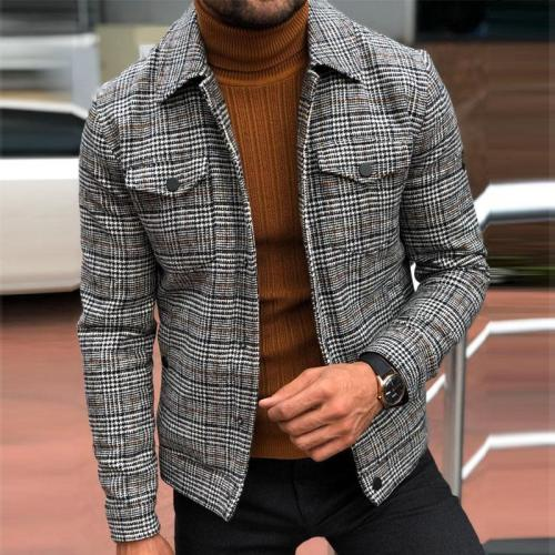 Men's Check Slim Jacket Autumn Fashion Casual High Street High Quality Pocket Jacket Men's Clothing Jacket 2021