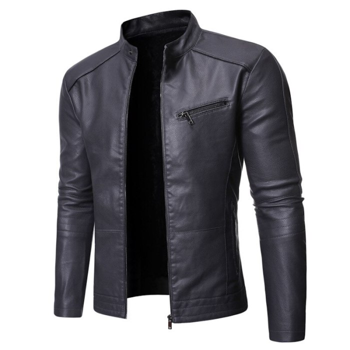 2021 new European and American men's jacket motorcycle leather jacket stand collar solid color men's washed leather jacket