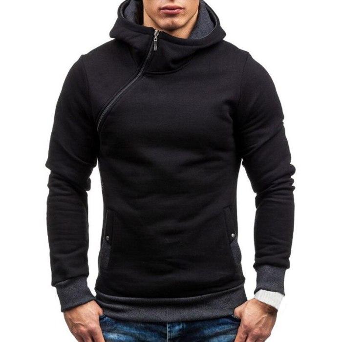 New Casual Solid Mens Hoodies Diagonal Zipper Long Sleeve Hoodie Sweatshirts Men Hoody Pullover Sweatshirt Hooded Sweat Homme