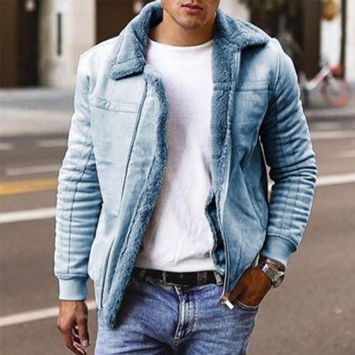 Men's Large Lapel Thicken Jacket Fashion Casual Youth High Street Biker Plus Velvet Warm High Quality Zipper Slim Jacket Winter