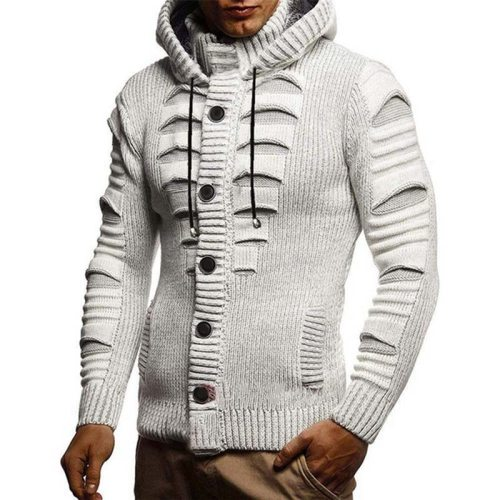 S-4XL Oversized Sweater Men 2021 New Casual Slim Solid Knitted Sweater Full Sleeve Cardigan Hooded Sweaters Knitwear Coat Men