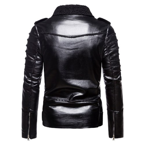 2021 brand autumn winter foreign trade European and American men's jacket youth stand collar punk motorcycle leather coat