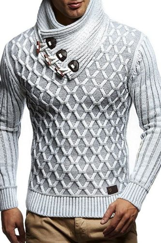 2021 brand autumn and winter new European and American fashion men's leather buckle high neck knitted sweater Pullover