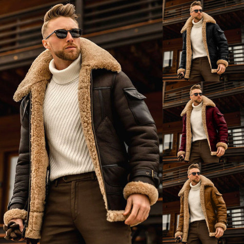 Autumn And Winter 2021 New Fur One-Piece Men's Coat, Thickened Medium-Length Leather Jacket, European And American Men's Wear