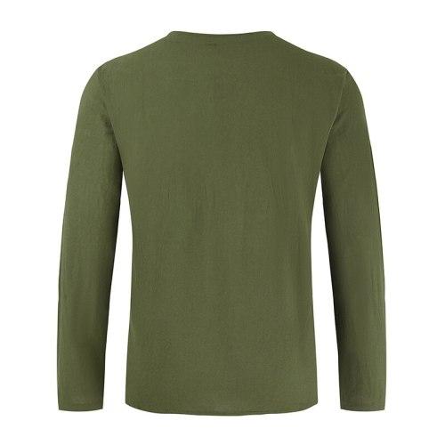 2021 Camisas Hombre Manga Larga Summer Spring Drawstring Collar Mens Linen Shirt Tops Casual Breathable Thin Work Men Clothing