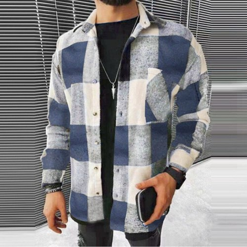 2021 Autumn Casual Men's Shirt Vintage Plaid Colorblock Long Sleeved Men's Clothing Lapel Cardigan Loose Shirts For Men