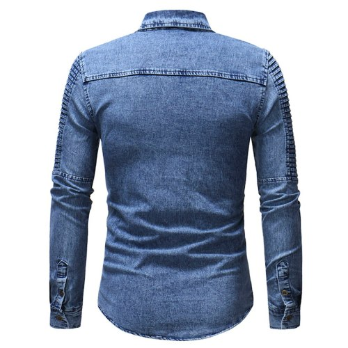 Spring Autumn High Quality Denim Shirt Men Casual Long Sleeve Fit Slim Personality Pocket Black Blue Shirt plus size 3XL