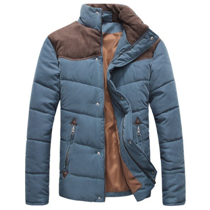 Winter Jacket Men Warm Casual Parkas Cotton Stand Collar Winter Coats Male Padded Overcoat Outerwear Clothing